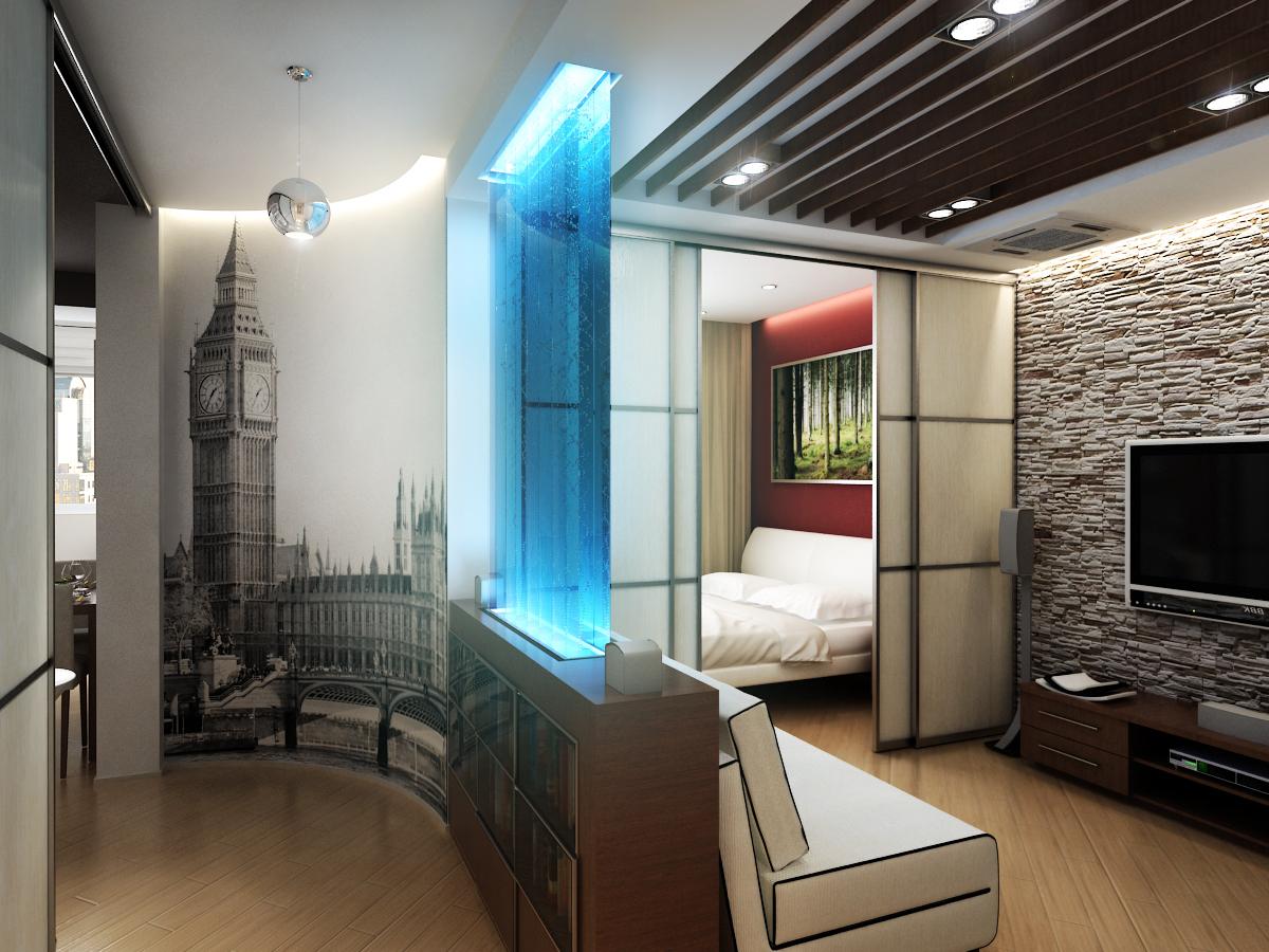 Дизайн комнаты однокомнатной квартире