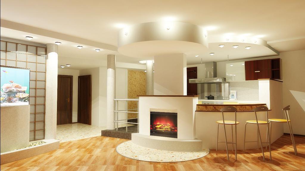 Кухня гостиная с камином дизайн фото