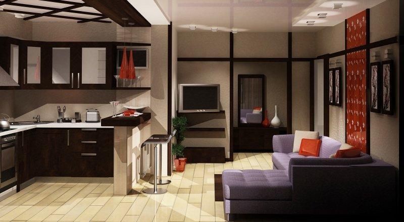 Кухни с залом интерьер