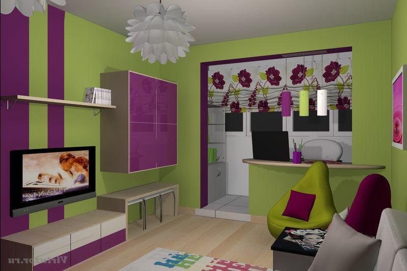 Фото дизайнов детской комнаты с объединенным балконом..