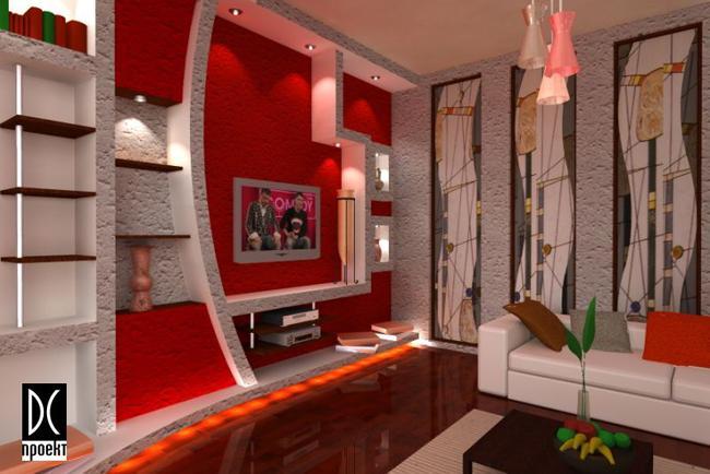 Дизайн стены из гипсокартона в гостиной