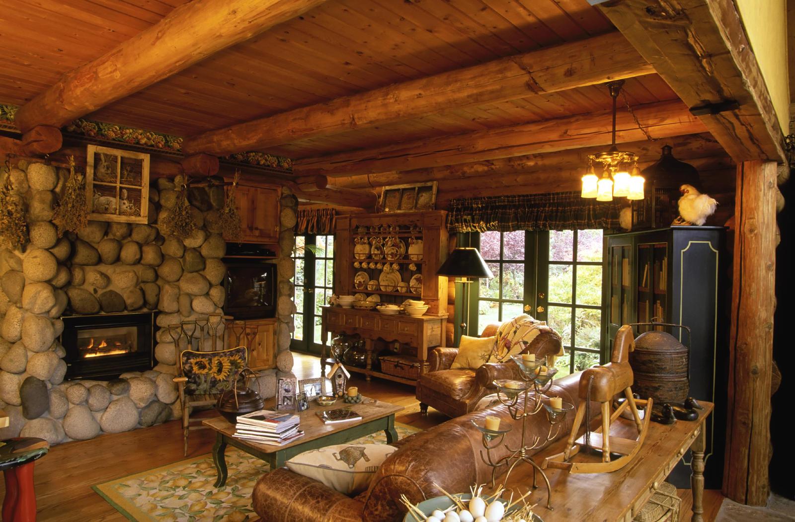 Интерьеры в стиле кантри в деревянных домах фото