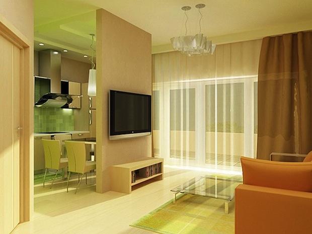 яркий дизайн в однокомнатной квартире