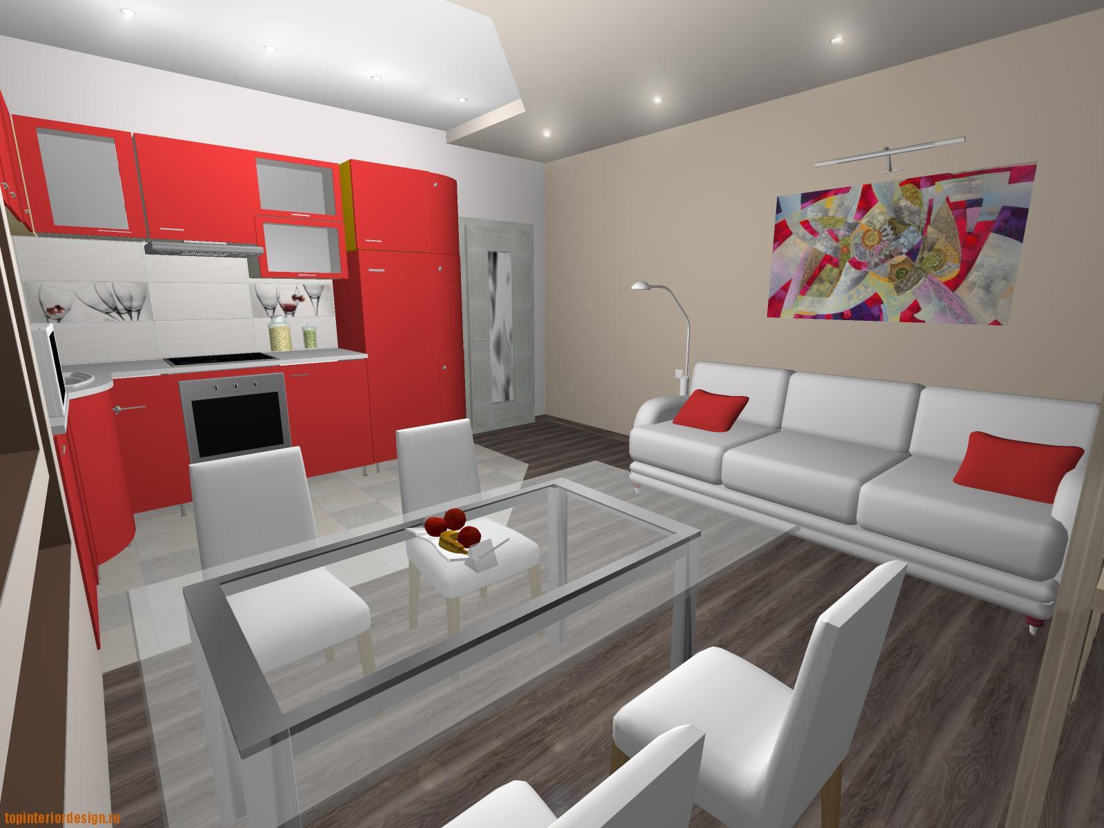 Интерьер комнат совмещенных с кухнями
