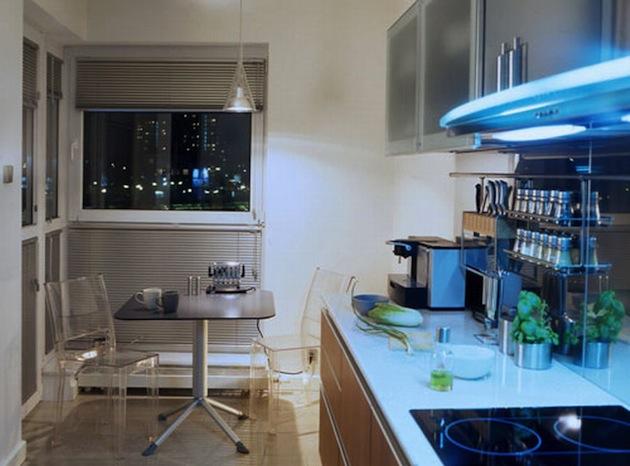 Дополняющие элементы дизайна в интерьере малогабаритной кухни