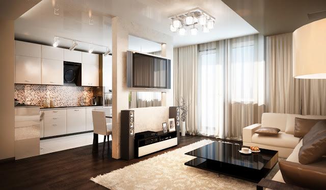 Дизайн кухня зал студии