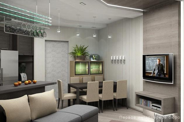 Современный дизайн кухни-гостиной