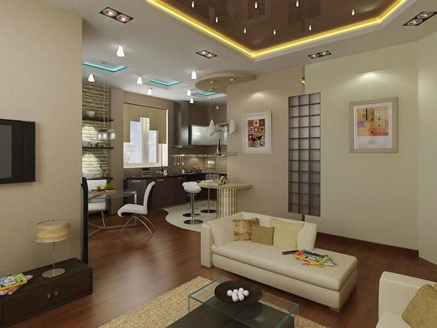 Дизайн гостиных совмещенных с кухней светлые тона