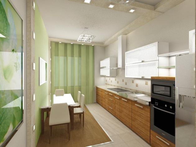 Оформление кухни-студии цветом и украшениями