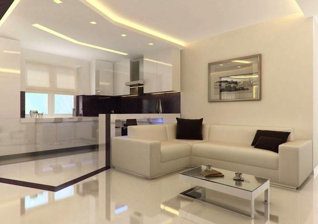цвет для дизайна гостиных совмещенных с кухней