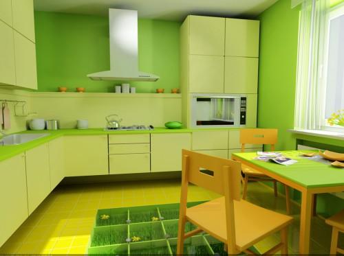 Интерьер-салатовой-кухни-500x373