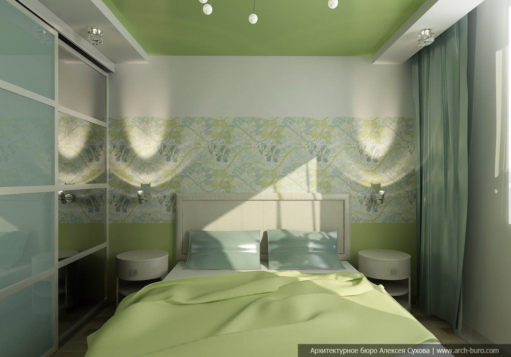 Дизайн натяжных потолков в спальни фото