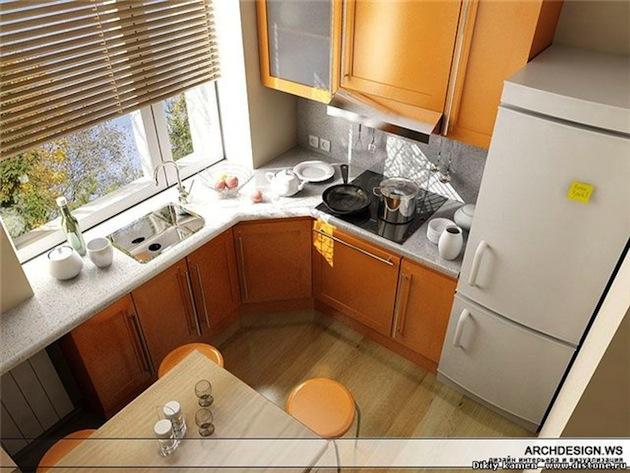 угловой варинат маленькой кухни