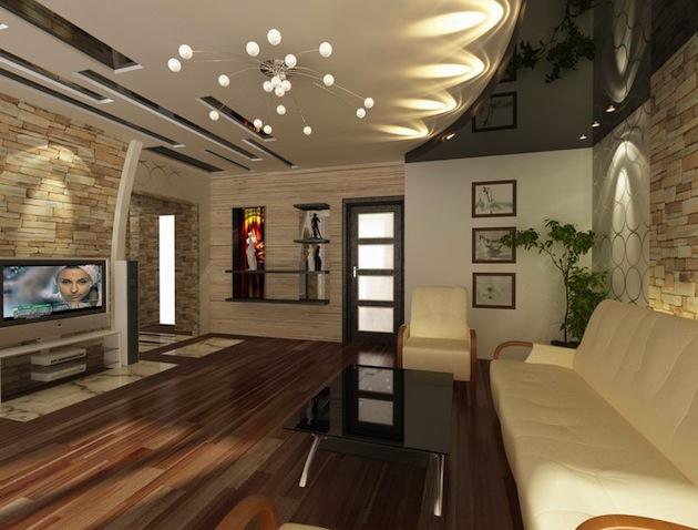 Красивые потолки в гостиной