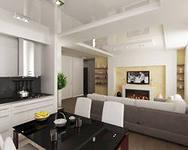 интерьеры гостиных совмещенных с кухней