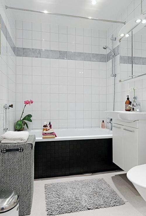 Ванная комната черно белый дизайн в хрущевке