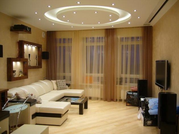Стили дизайна потолка в оформлении зала
