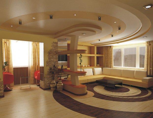 Дизайн потолков в гостинной