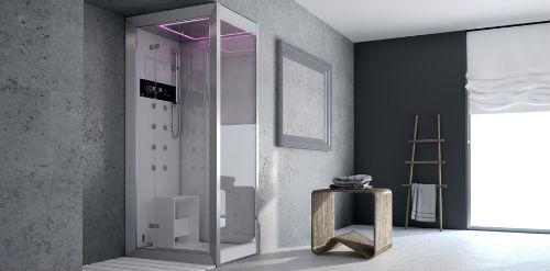Ванная комната с душевой кабиной в стиле хай-тек