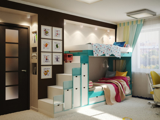 Дизайн комнаты для девочки и мальчика