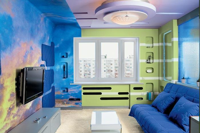 Покраска стен зала фото