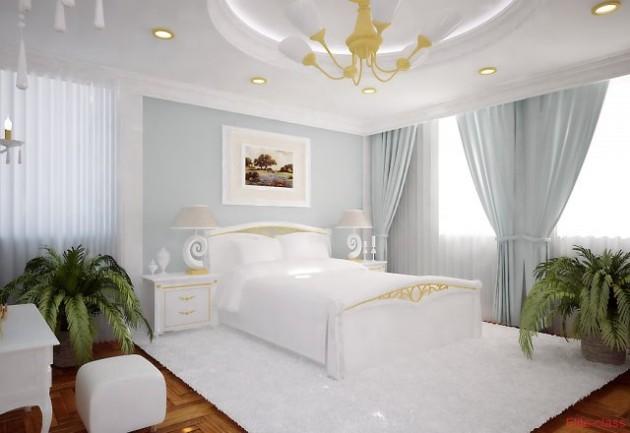 Белые шторы для спальни