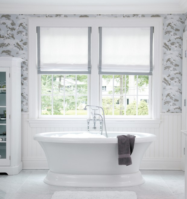 muse interiors bathroom stand alone bathtub tb gray floral wallpaper roman shades trim gray cococozy gray white