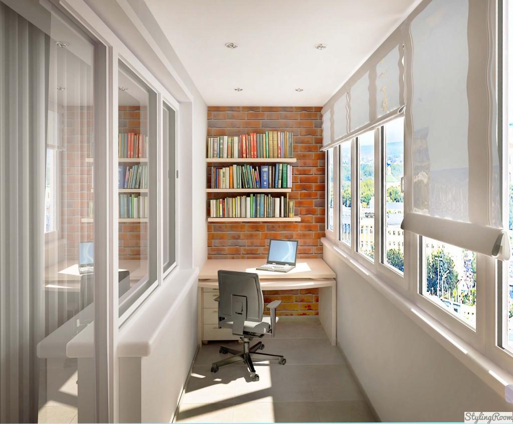 В кабинете на лоджии, при условии его утепления, будет светло и уютно