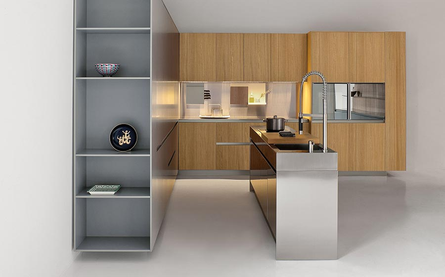 Sleek-kitchen-island-in-stainless-steel-with-shelves-and-cabinets-in-wood