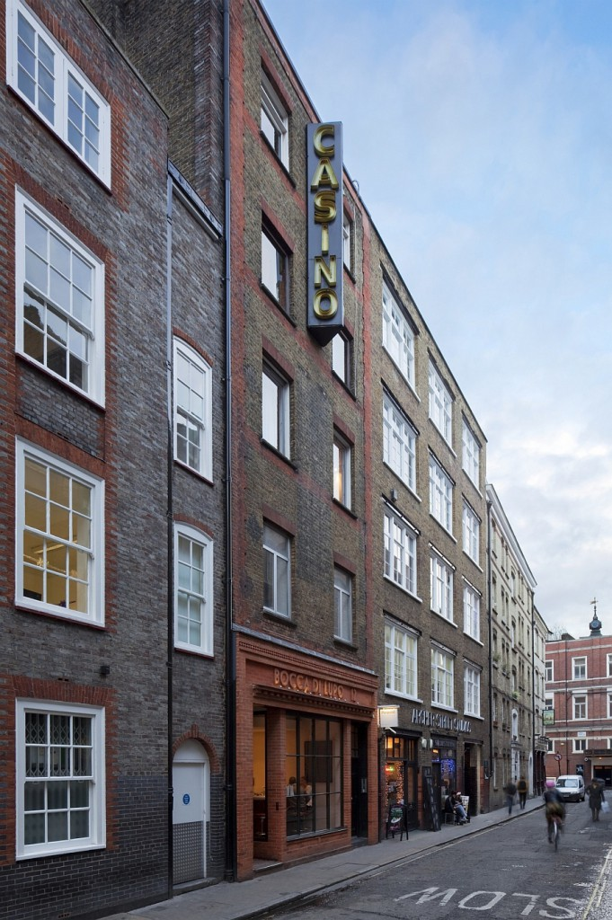 Street-facade-of-the-apartment-building-on-Archer-Street-Soho-London