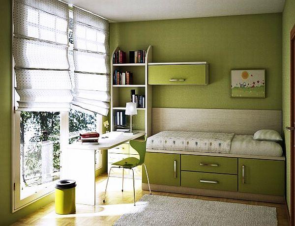 Зеленая спальня для девочки-подростка