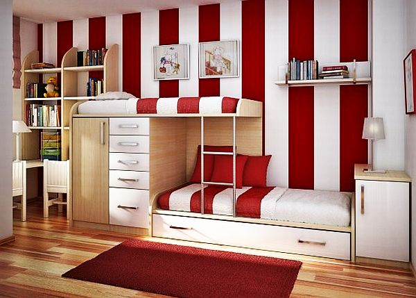 Бело-красная спальня девочек-подростков