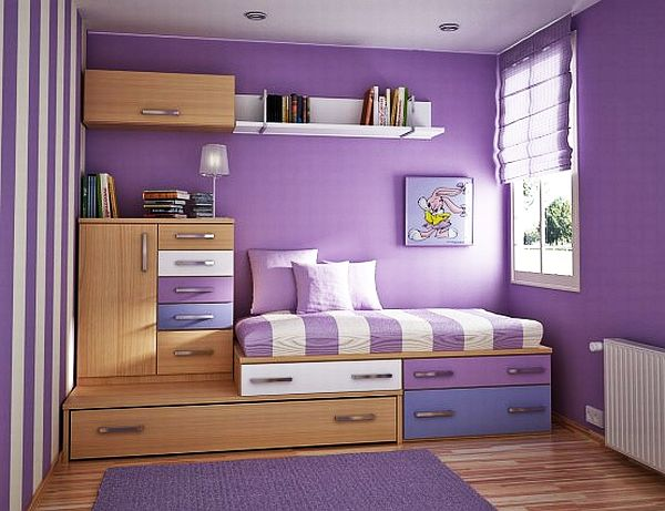 Фиолетовый великолепный дизайн спальни для девочек-подростков