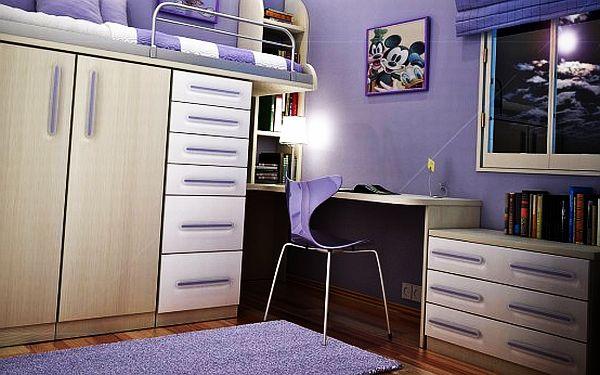 Дизайн для девочки с фиолетовой итальянской мебелью