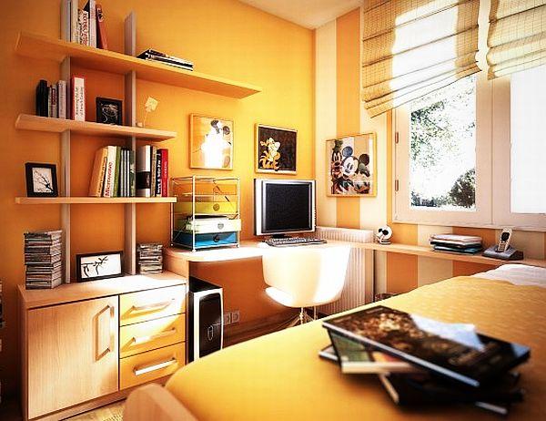 Оранжевый дизайн для комнаты девочки