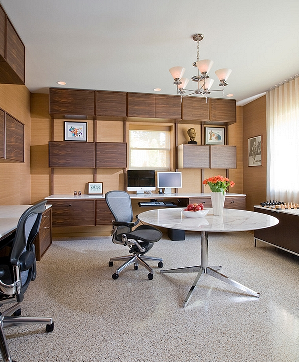 Custom-floating-cabinets-and-desks-along-with-Midcentury-modern-decor-for-basement-home-office