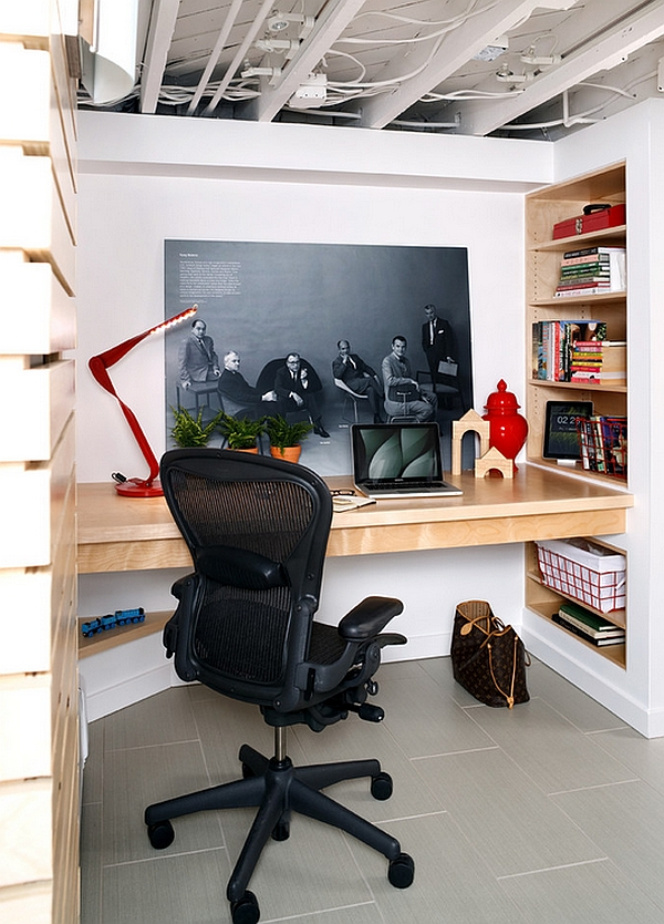 Small-basement-home-office-with-a-built-in-desk-and-smart-wall-shelves