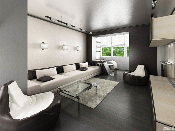 Лоджия, совмещенная с гостиной в стиле хай-тек