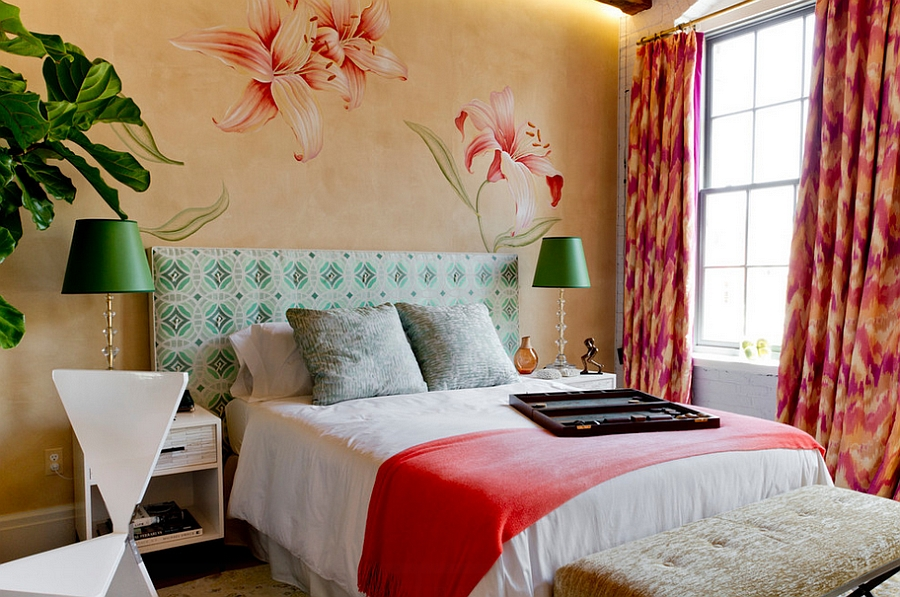 Bright-colors-and-natural-greenery-enliven-this-trendy-bedroom