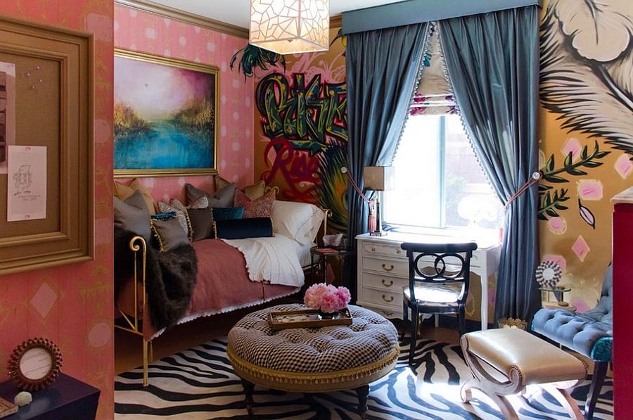 женская спальня с отличным богемским стилем