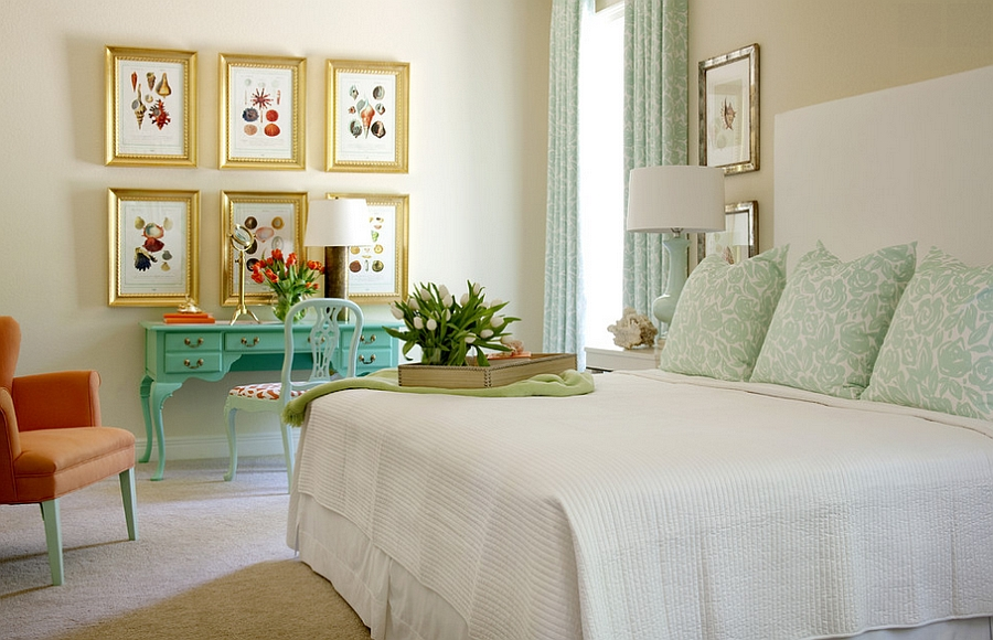 Turquoise-and-Coral-are-trendy-colors-to-use-in-the-bedroom