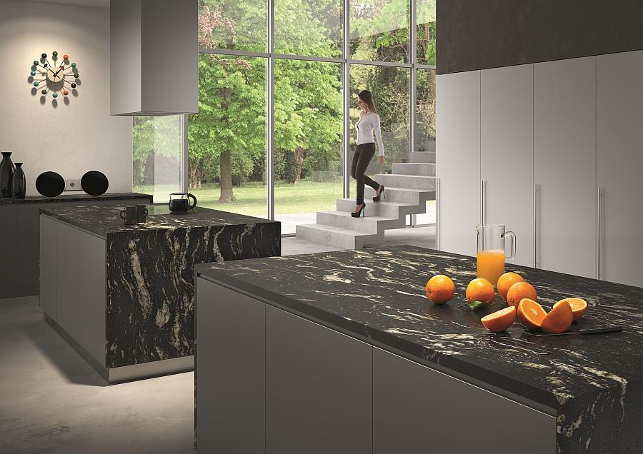 Оригинальный камень черного цвета для поверхности кухонной мебели – отличное сочетание стиля и пользы