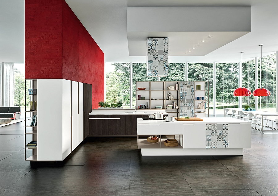 Dark-red-accents-enliven-the-msart-contemporary-kitchen-in-arctic-white