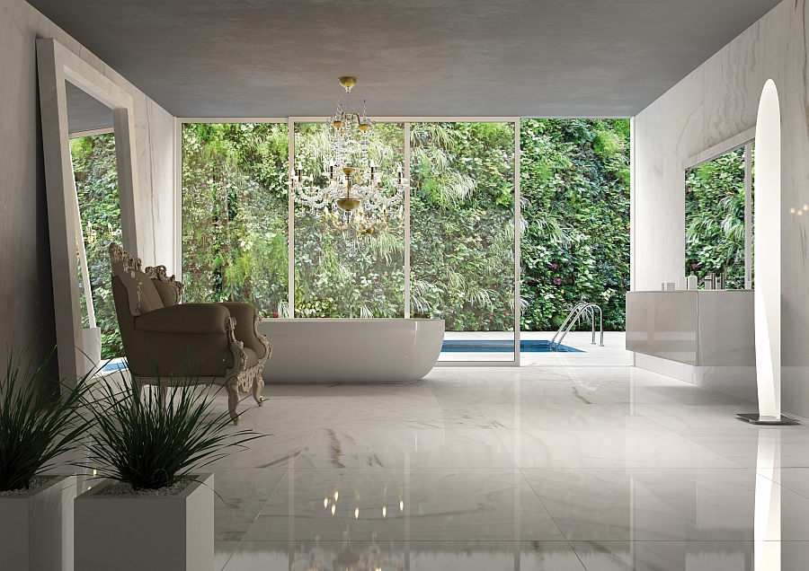 Оригинальная ванная комната в светлых тонах: белоснежный пол и стены, сделанные из натурального камня и радующие своих хозяев изысканным блеском, окна до пола, наполняющие комнату светом ипростором, джакузи.Удачное соединение стиля и удобства.