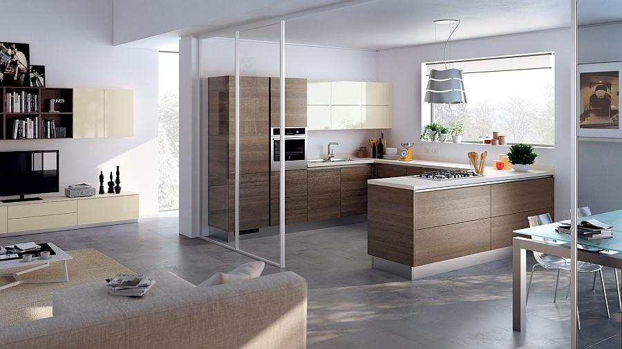 Раздвижные стеклянные двери кухни из серии «Городской минимализм»