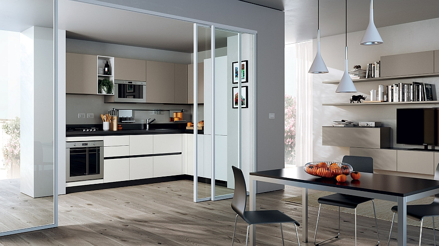 Кухонная зона, которая отлично впишется в небольшой городской дом.