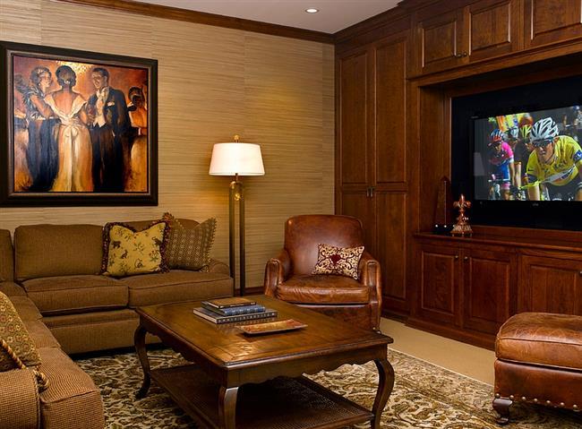 Стильные обои в интерьере стильной гостиной.