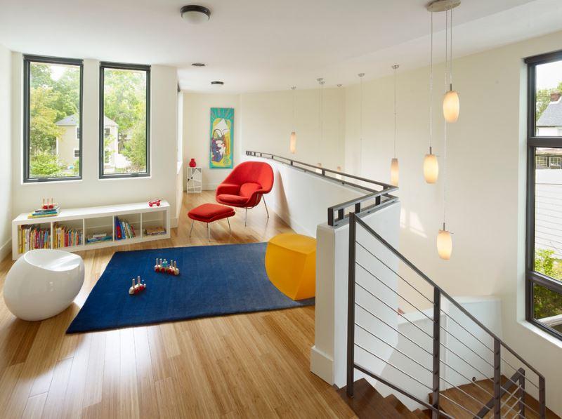 Бамбуковый пол в детской игровой комнате.