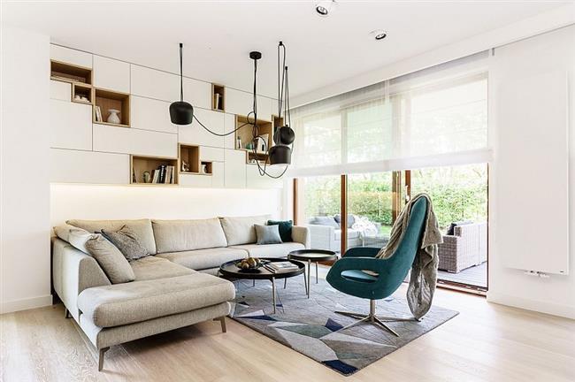Зона отдыха шикарной квартиры в стиле минимализм.