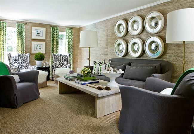 Стильная гостиная, дополненная зелеными предметами и аксессуарами.